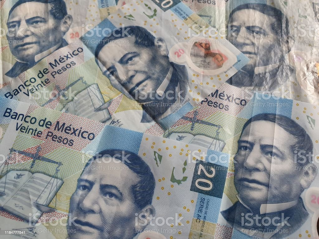 Mexican Banknotes Of Twenty Pesos Unorganized Background And Images, Photos, Reviews