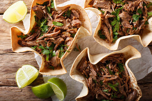 Mexican Barbacoa Tacos With Spicy Pulled Beef Closeup ...