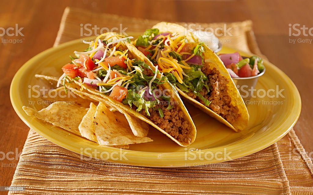 mexican beef tacos stock photo