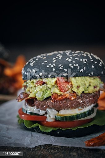 Mexican Black Burger Buns with Beef Pattie, Guacamole, Tomato and Lettuce