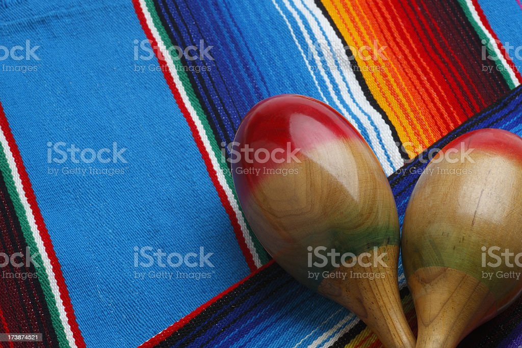Mexican Blanket and Maracas royalty-free stock photo