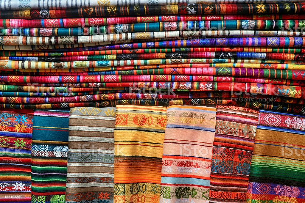 Mexican Blankets Tablecloths Market Santa Fe royalty-free stock photo