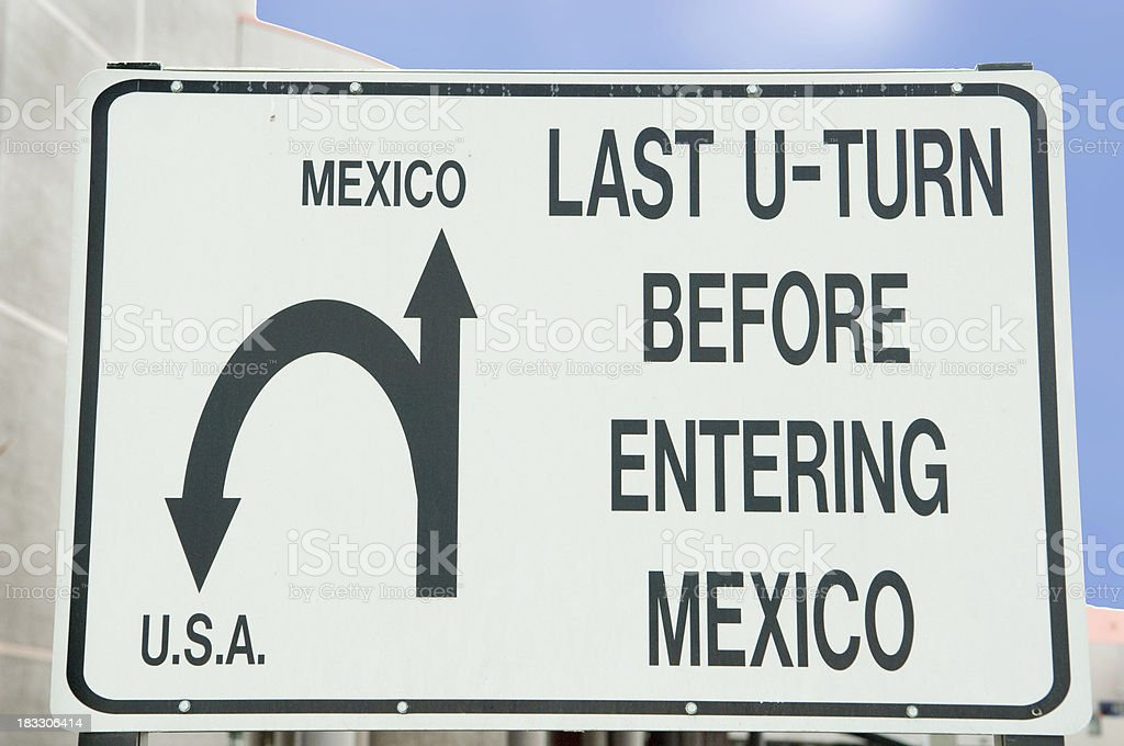 Mexican Border Sign royalty-free stock photo