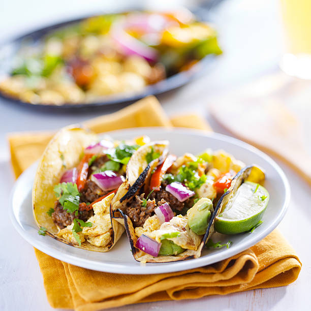 mexican breakfast tacos stock photo