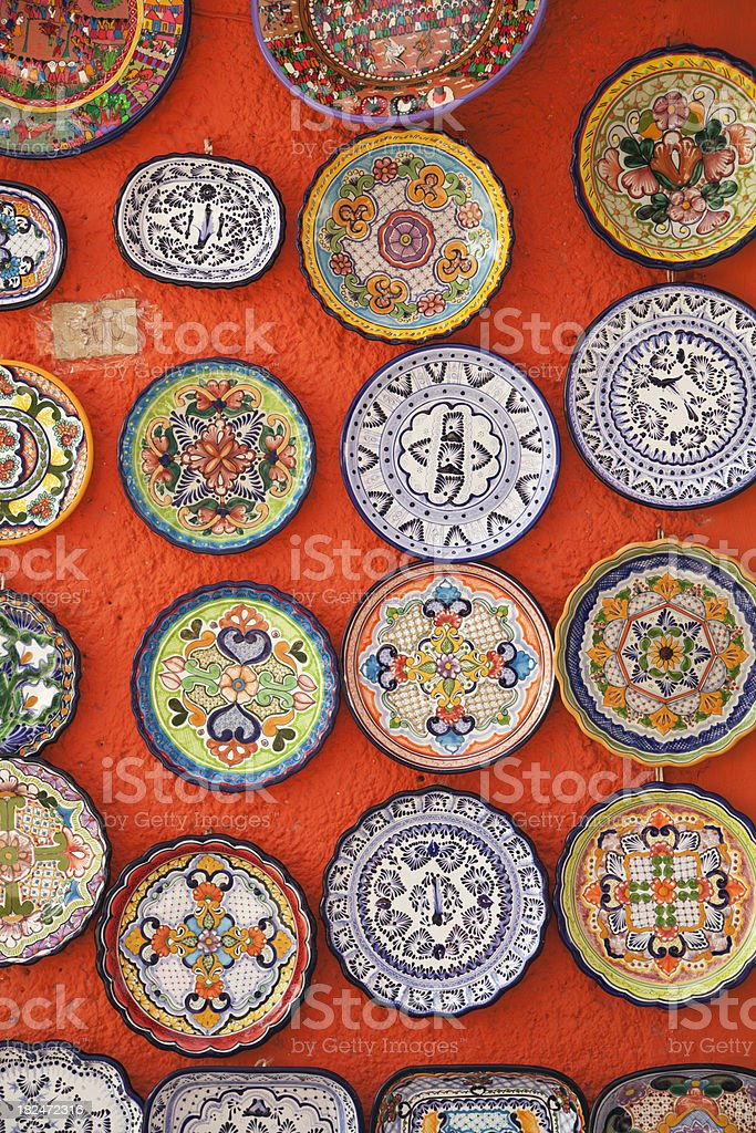 \'Subject: A display of Mexican folk art ceramic pottery plate in a...