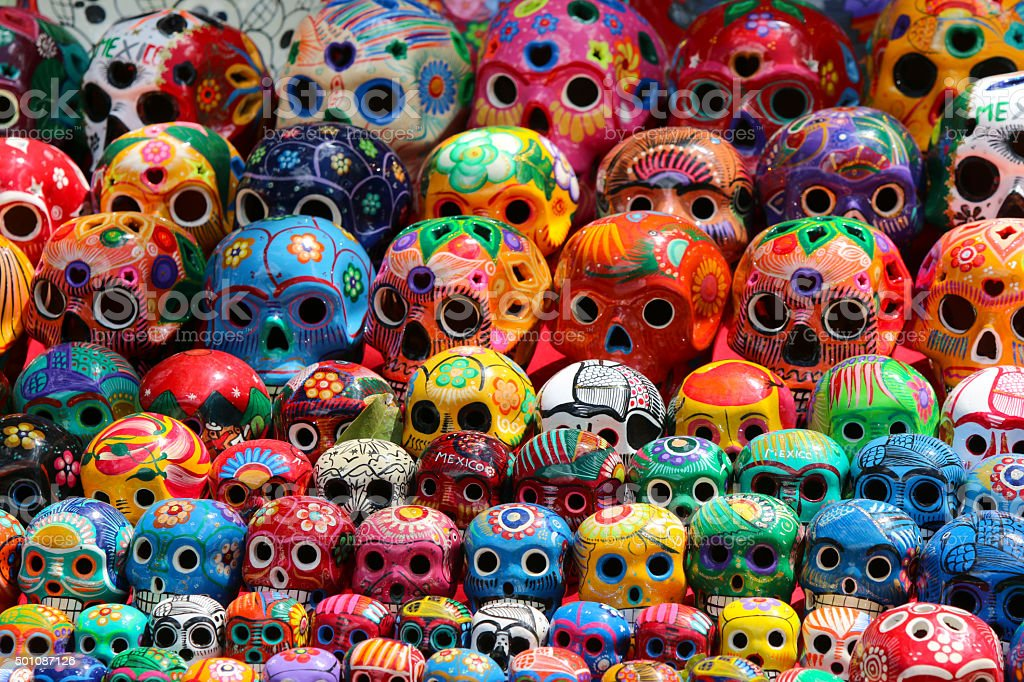 Mexican Ceramic Skulls A calavera is a representation of a human skull. The term is most often applied to decorative or edible skulls made (usually by hand) from either sugar (called Alfeñiques) or clay which are used in the Mexican celebration of the Day of the Dead (Día de los Muertos) and the Roman Catholic holiday All Souls' Day. Ceramics Stock Photo