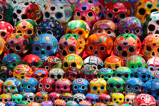 Mexican Ceramic Skulls Stock Photo - Download Image Now