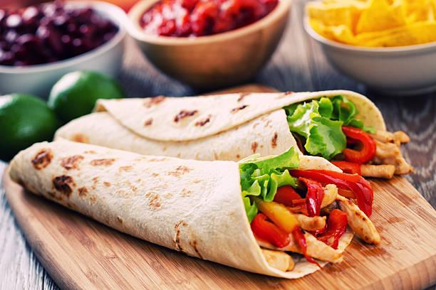 mexican chicken fajita - tortilla stock photos and pictures