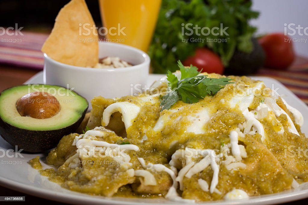 Mexican chilaquiles dish stock photo