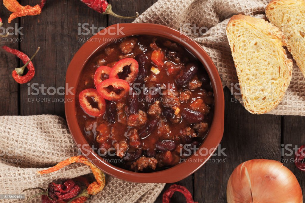 Mexican chili con carne stock photo