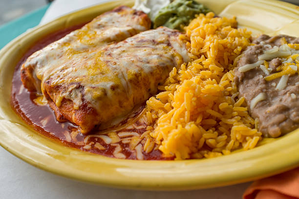 mexican chimichanga burrito - mexican food stock photos and pictures