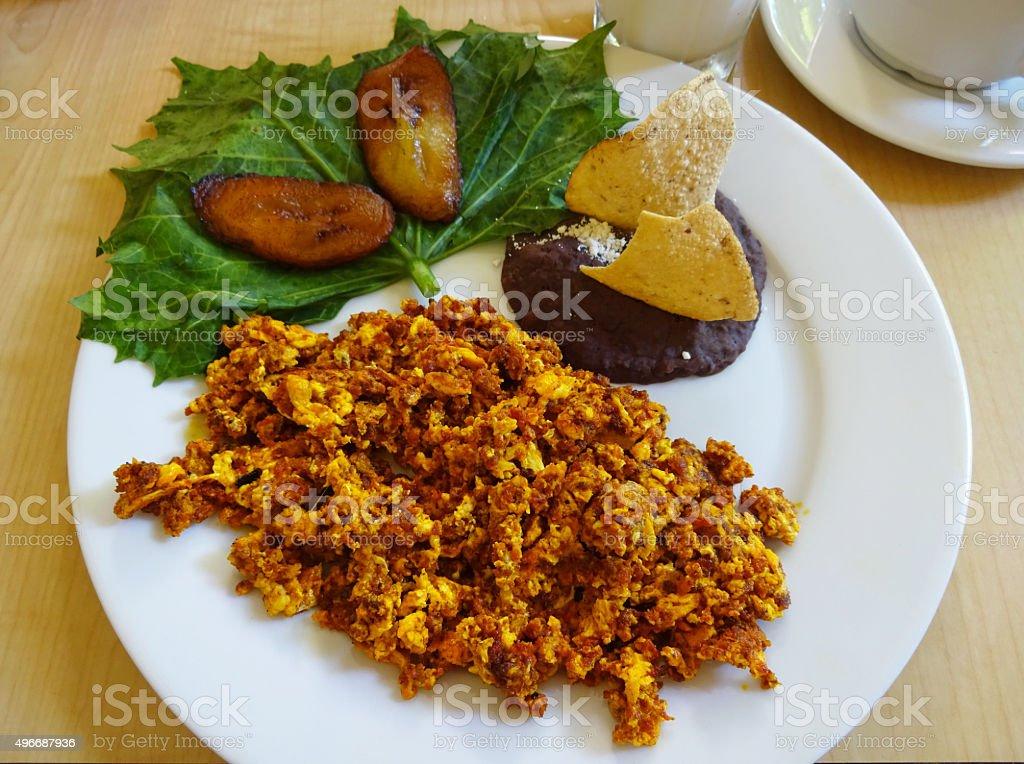 Mexican Chorizo and Scrambled Egg Breakfast stock photo