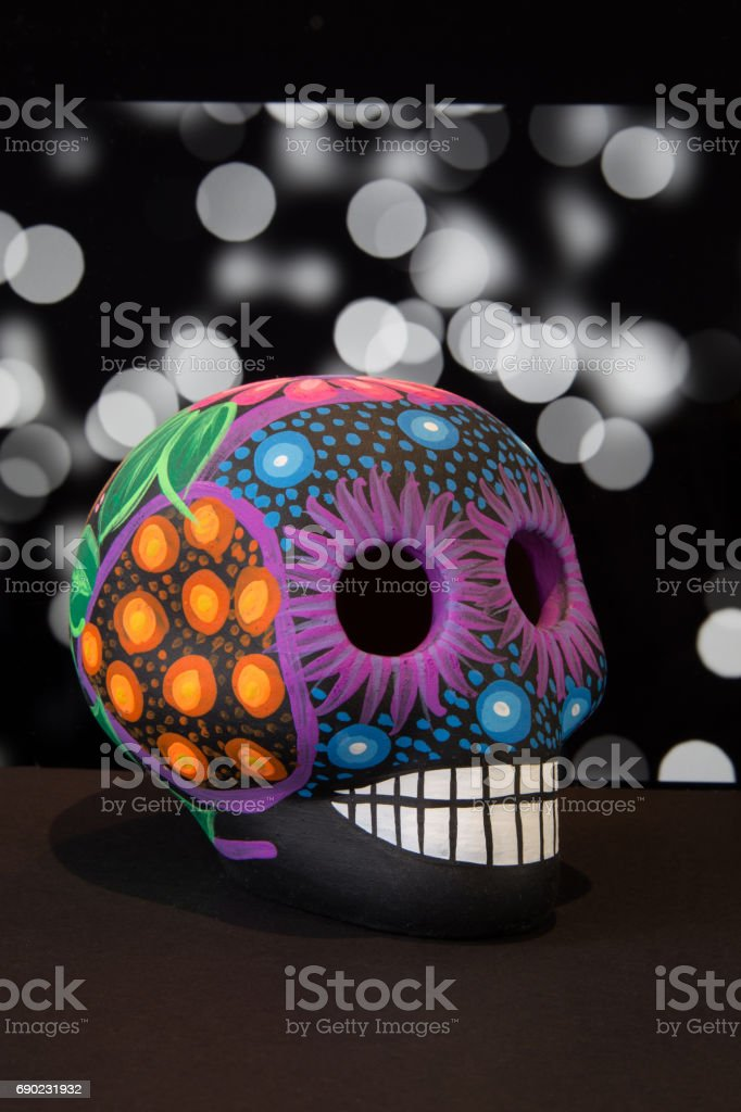 Mexican colorful skull with black background stock photo