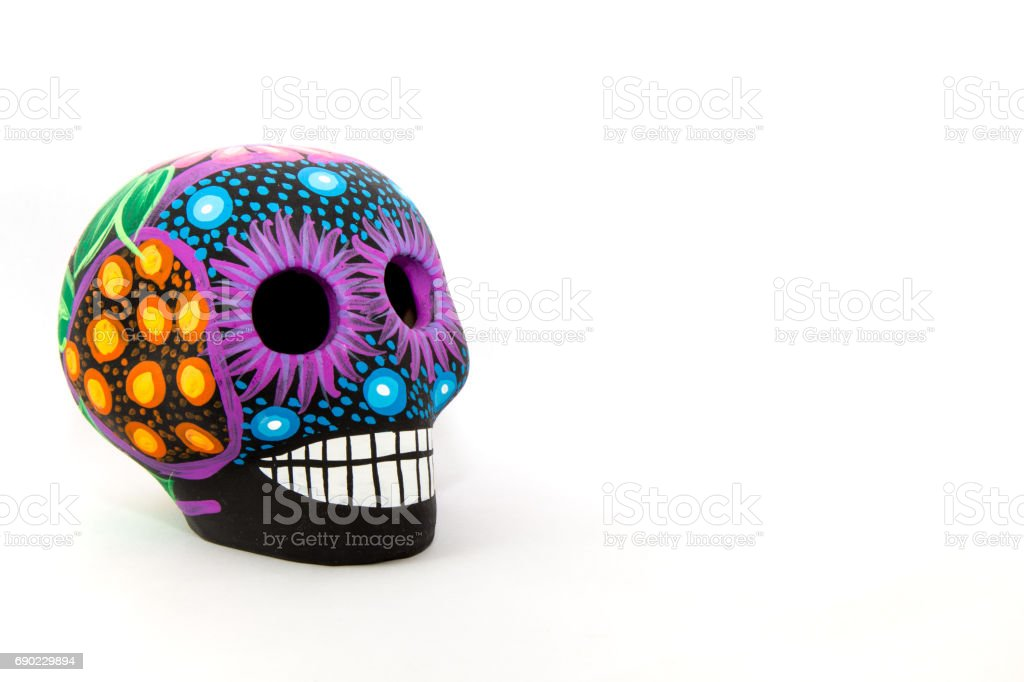 Mexican colorful skull with white background - foto de acervo