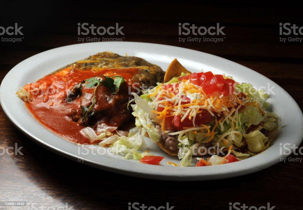 Mexican Combo Plate Horizontal stock photo