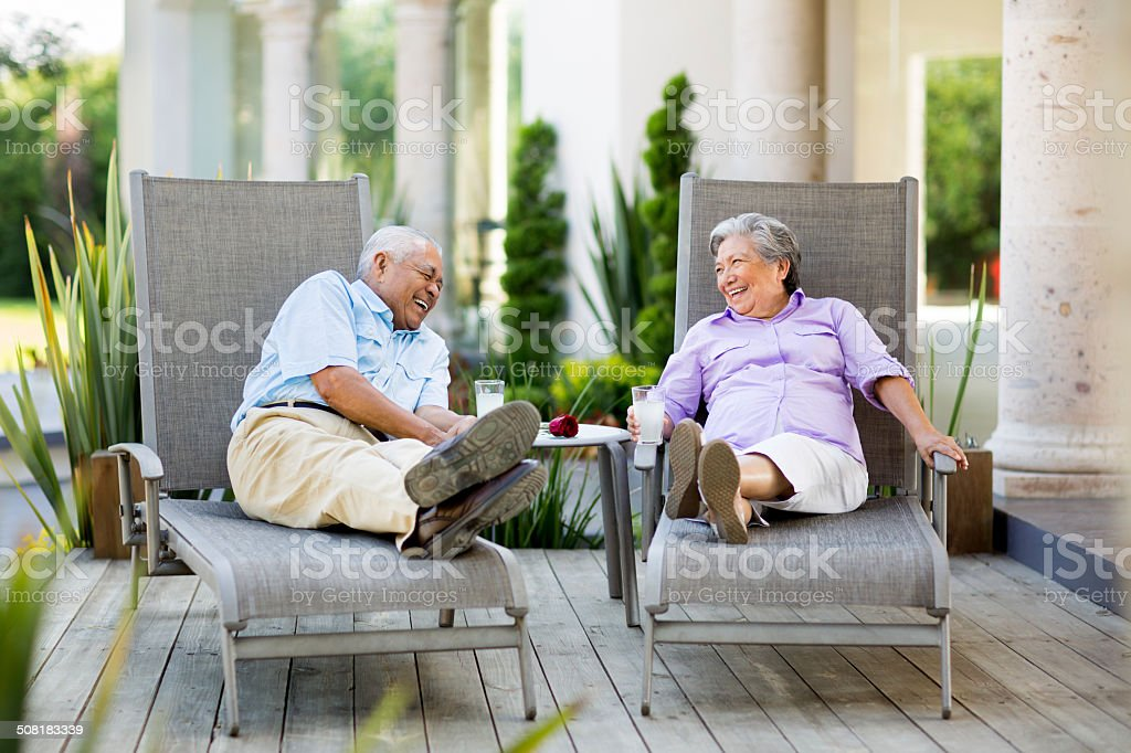 Mexican couple laughing together royalty-free stock photo