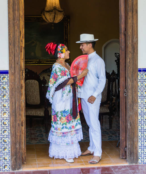 Mexican couple wearing  traditional costume stock photo