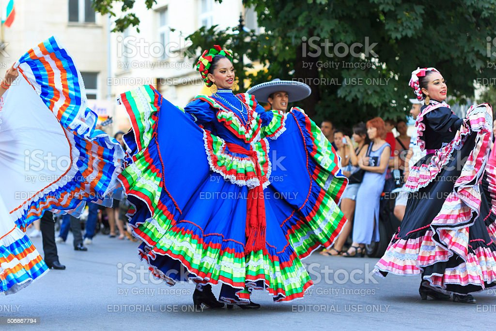 Mexican couples from folklore group for traditional dances make...