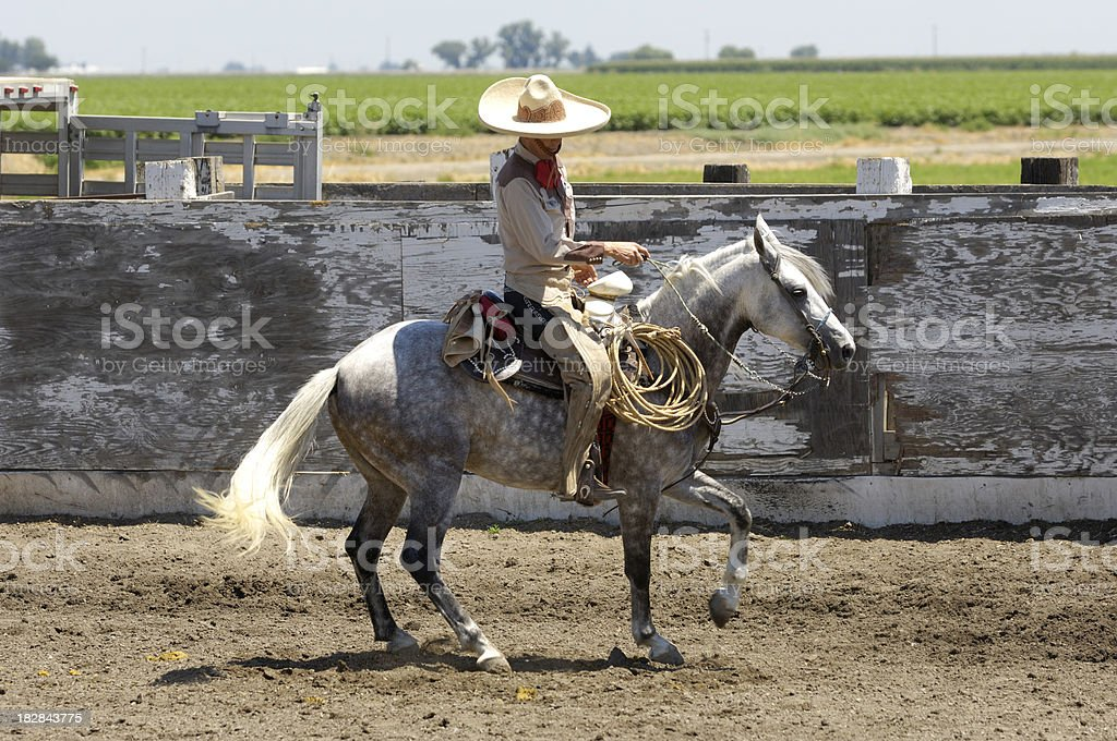 Mexicana en la Rural región de Rodeo vaquero de Arena - foto de stock