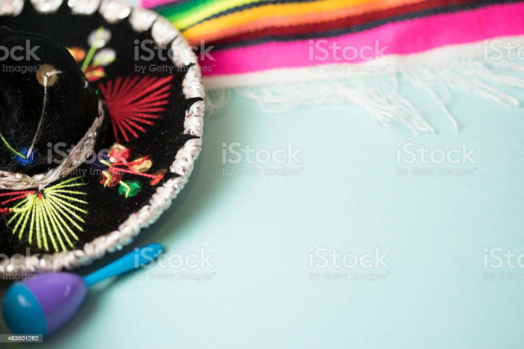 close up shot of mexican theme on white background