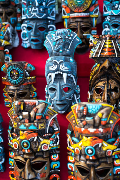 Mexican culture. Souvenirs from the trip. Masks stock photo