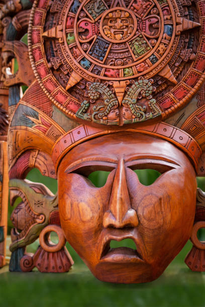 Mexican culture. Souvenirs from the trip. The mask of a warrior stock photo
