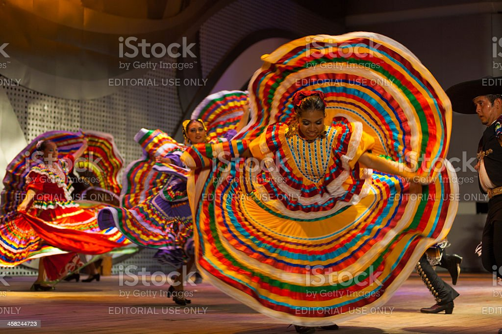 Mexican Dancer Yellow Dress Spreading Spinning stock photo