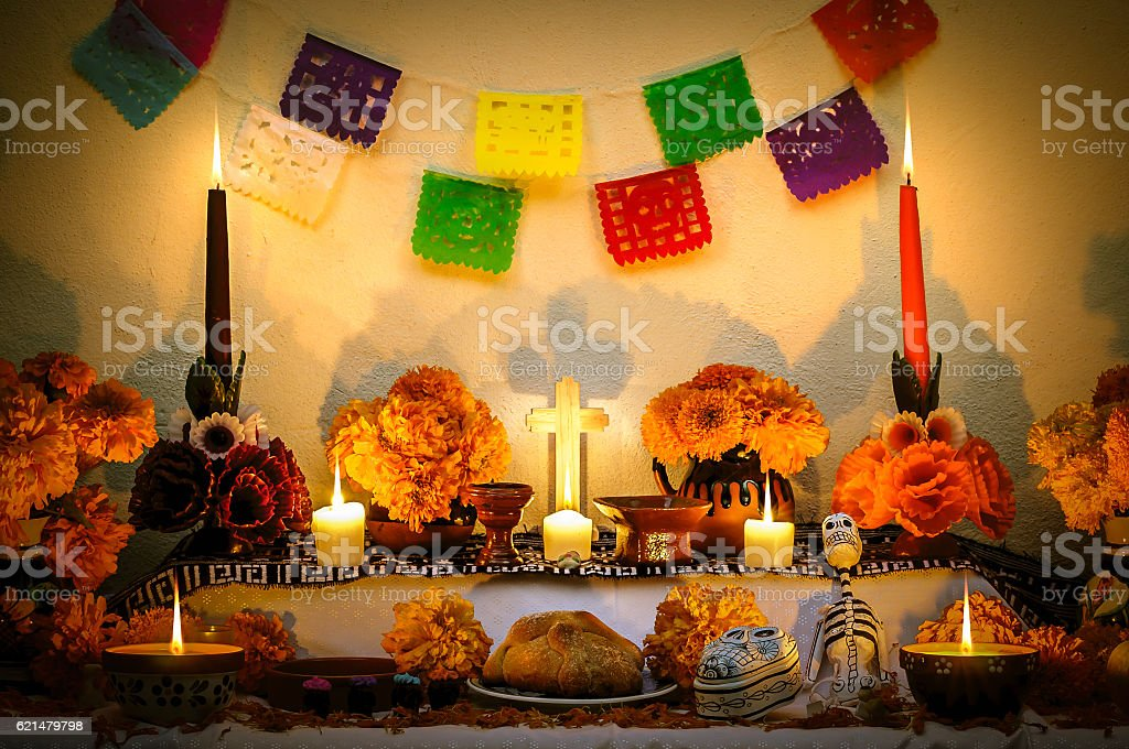 Mexican day of the dead altar 'Dia de Muertos' stock photo