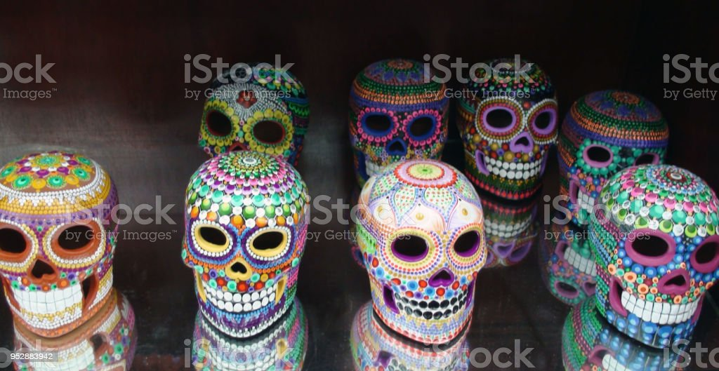 Mexican Day Of The Dead Artificial Skull View In Isla Mujeres Island...