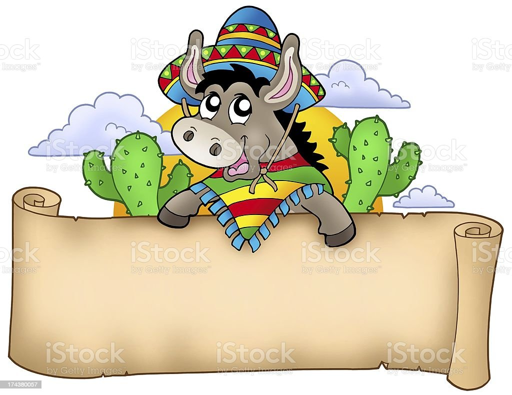 Mexican donkey holding parchment royalty-free stock photo