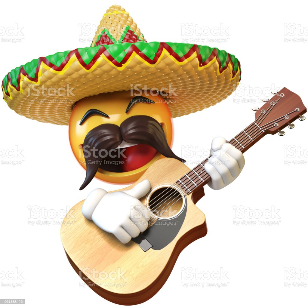Mexican Emoji Playing Guitar Isolated On White Background Stock Photo - Download Image Now - iStock