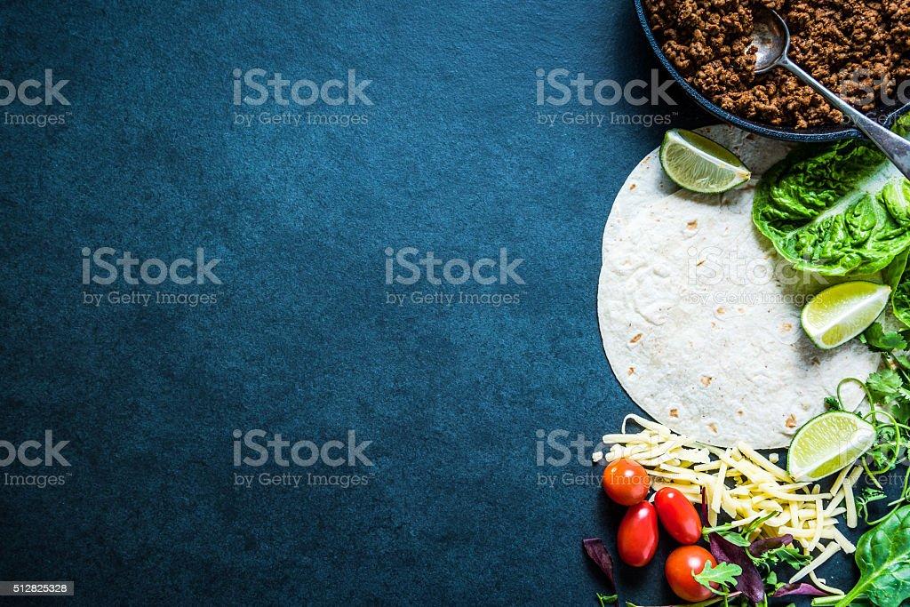 Mexican fajitas or tortillas, food border background recipe stock photo