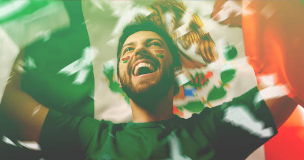 mexican fan celebrating - mexico stock photos and pictures