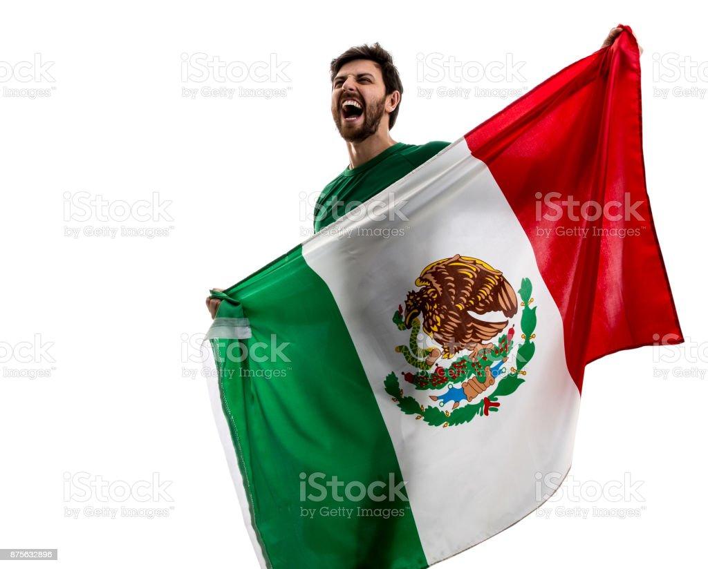 Fan mexicana / jugador del deporte celebra en fondo blanco - foto de stock