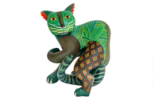 Mexican fantasy figures called Alebrijes. Elaborate painted weird sculptures made in Oaxaca, Mexico craft product stock pictures, royalty-free photos & images