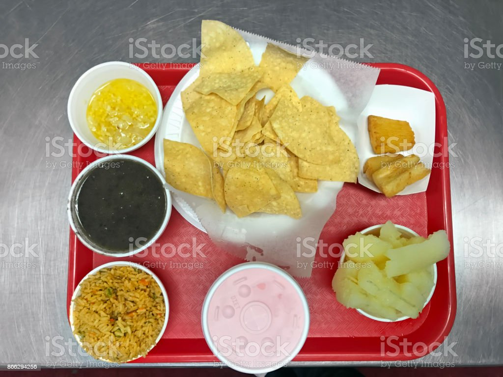 Mexican fast food tray stock photo