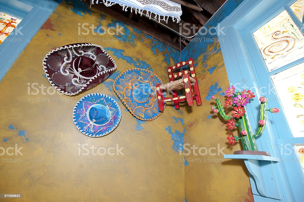 Mexican Festival Hats on a Wall royalty-free stock photo