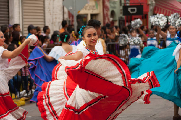 Mexican Festival Parade Matamoros, Tamaulipas, Mexico - February 25, 2017, Desfile Fiestas Mexicanas is part of the Charro Days Fiesta - Fiestas Mexicanas, A bi-national festival between USA and Mexico. mexican culture stock pictures, royalty-free photos & images