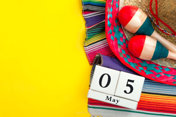 mexican fiesta poster and cinco de mayo party concept theme with calendar on may 5th, red and blue maracas, sombrero and traditional rug on yellow background with copyspace - cinco de mayo party stock photos and pictures