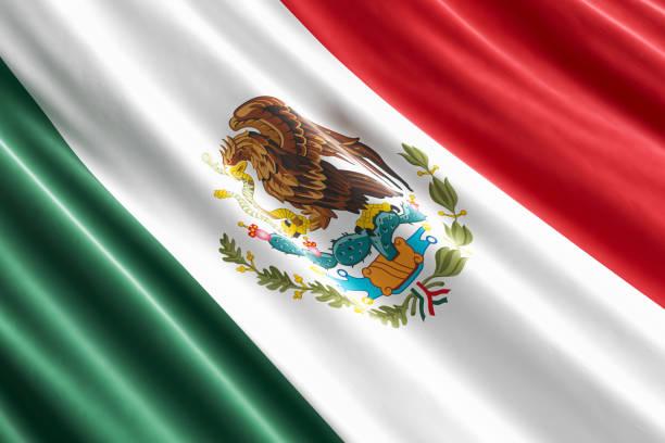 Mexican flag background, 3D rendering stock photo