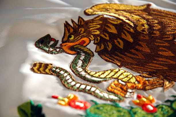 Mexican Flag Coat of Arms Detail stock photo