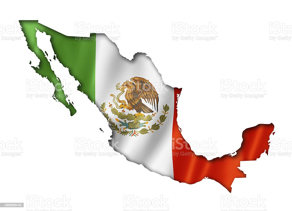 Mexican flag map stock photo