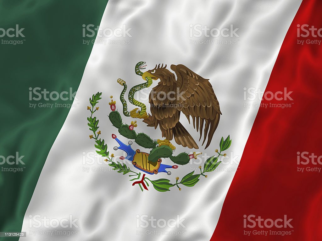 Mexican Flag Silk stock photo
