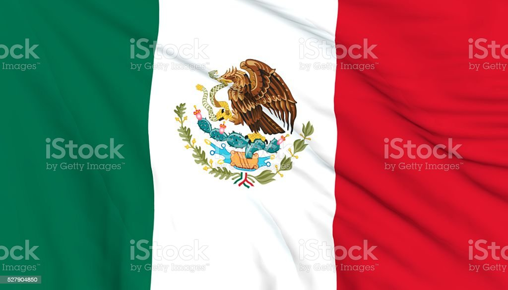 Mexican flag waving on wind stock photo
