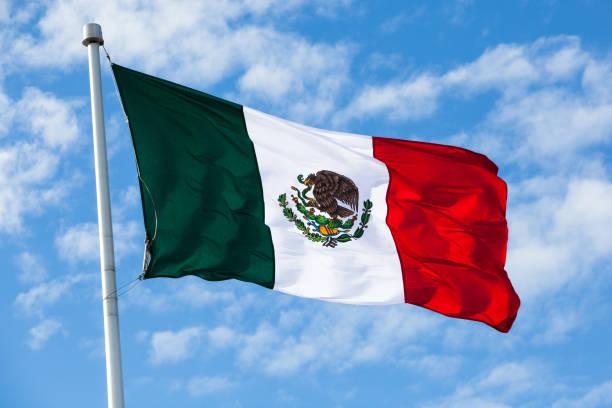 bandera mexicana saludar con la mano - bandera mexico fotografías e imágenes de stock