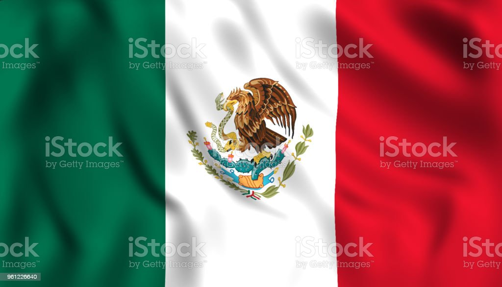Bandera mexicana ondeando símbolo de México - foto de stock