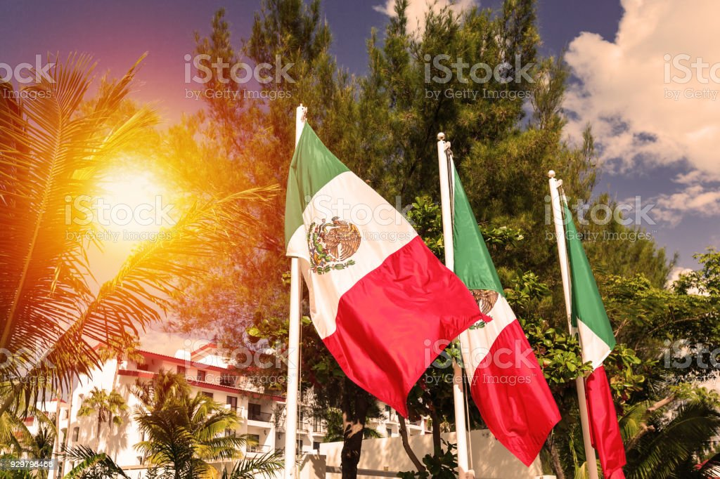 Mexican flags stock photo