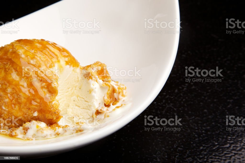 Mexican Flash fried Vanilla Ice Cream scoop stock photo