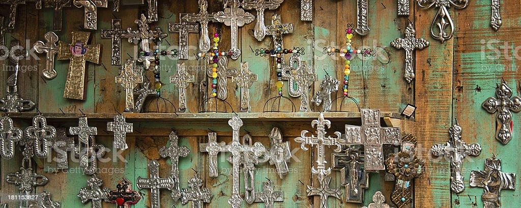 Mexican folk art cross display stock photo