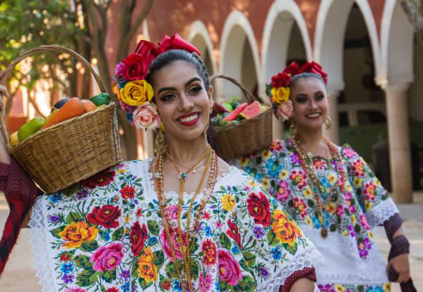Mexican folk dancers stock photo
